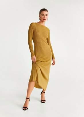 MANGO Metallic gown gold - 4 - Women