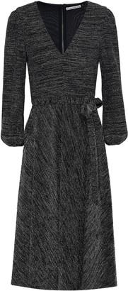 Alice + Olivia Belted Metallic Stretch-knit Dress