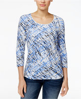 Karen Scott Printed Three-Quarter-Sleeve T-Shirt, Only at Macy's