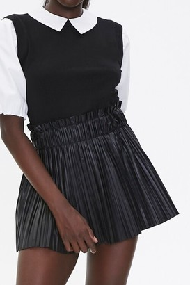 Forever 21 Pleated Faux Leather Mini Skirt