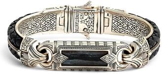 Konstantino Perseus Ferrite Wide Leather & Silver Bracelet