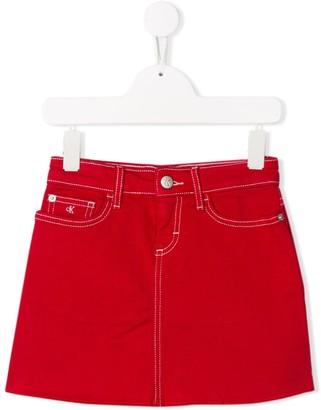 Calvin Klein Kids Stitch Detail Denim Skirt