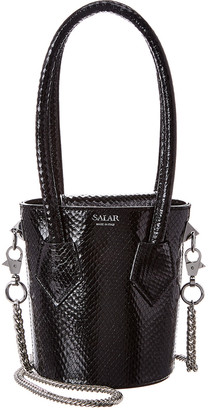 Salar Milano Celia Snake-Embossed Leather Bucket Bag