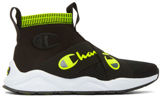 Champion Reverse Weave Black and Yellow Rally Crossover High-Top Sneakers
