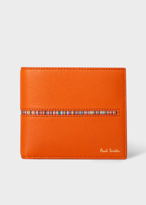 Paul Smith Men's Orange Leather Billfold Wallet With 'Signature Stripe' Insert