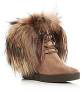 Aquatalia Cecilia Weatherproof Fur Trim Wedge Booties