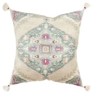 """Rizzy Home Medallion Polyester Filled Decorative Pillow, 20"""" x 20"""""""