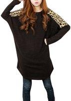 Allegra K Woman Leopard Print Dolman Sleeves Loose Tunic Top M