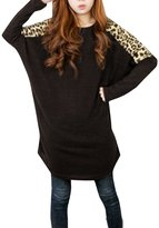 Allegra K Woman Leopard Print Dolman Sleeves Loose Tunic Top XL