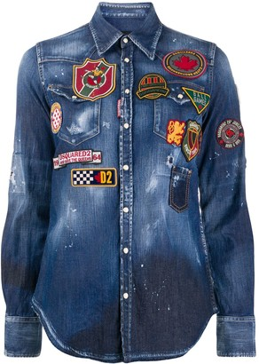 DSQUARED2 Logo Patch Distressed Finish Shirt