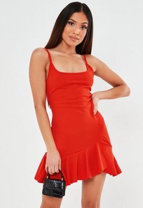 Missguided Petite Red Frill Hem Strappy Mini Dress