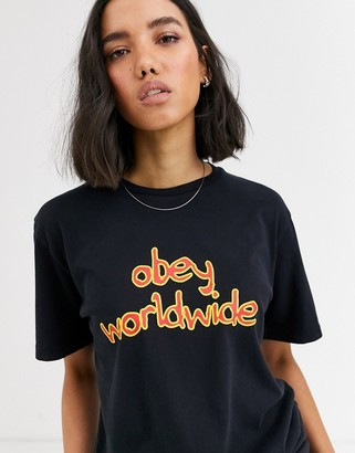Obey boyfriend t-shirt with retro logo