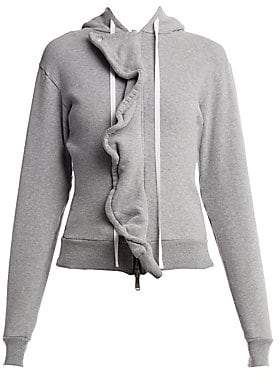 Unravel Project Women's Ruffle Terry Brush Zip-Up Hoodie
