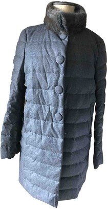 Moncler Anthracite Wool Coat for Women