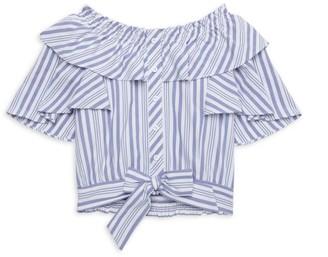 Habitual Little Girl's & Girl's Stripe Tie-Front Flutter-Sleeve Top