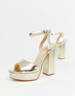 Vero Moda metallic heeled platform sandals-Gold
