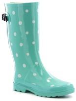 Women's Novelty Polka Dot Wide Calf Rain Boots - Taupe Brown