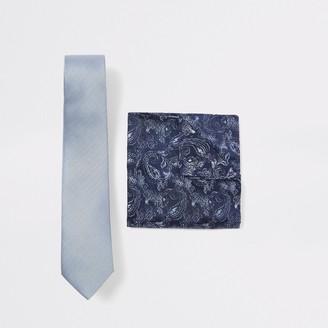 River Island Mens Blue herringbone paisley handkerchief set