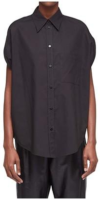 MM6 MAISON MARGIELA Circle Cut Button-Down (Black) Women's Clothing