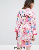 Boohoo Bride To Be Robe With Lace Edge