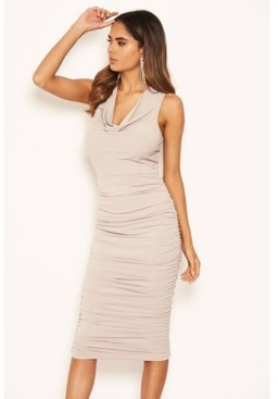AX Paris Women's Cowl Neck Ruched Side Bodycon Midi Dress