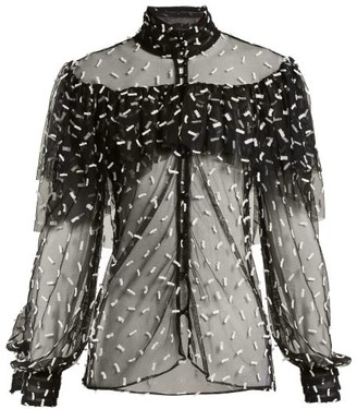 Rodarte Ruffled Bow-applique Tulle Blouse - Black White