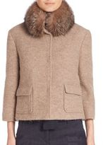 Eleventy Fox Fur Collar Alpaca & Wool Coat