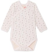 Petit Bateau Newborn baby girls long-sleeved bodysuit in tube knit