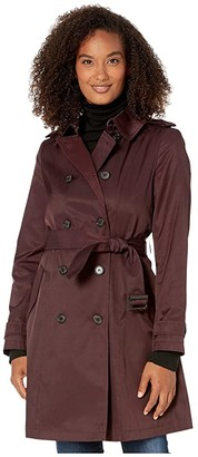 Lauren Ralph Lauren Year Round Rain Trench Coat (Cranberry) Women's Coat