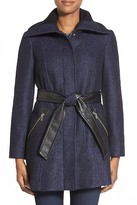Via Spiga Collared Waist Belt Faux Leather Coat