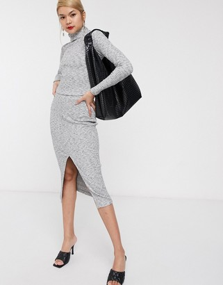 Palones Pull-on Rib Knitted Skirt in Grey