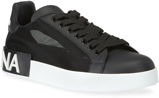 Dolce & Gabbana Classic Leather/Mesh Low-Top Sneakers