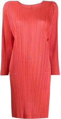 Pleats Please Issey Miyake Split-Hem Pleated Dress