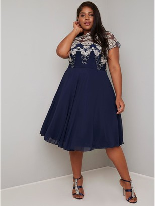 Chi Chi London Curve Riara Dress - Navy