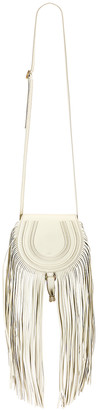 Chloé Small Marcie Fringe Saddle Bag in Natural White | FWRD