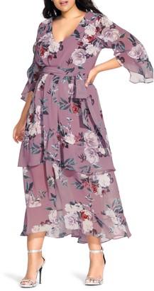 City Chic Rosewater Floral Chiffon Maxi Dress