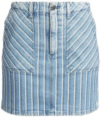 AG Jeans Lana Striped Denim Mini Skirt