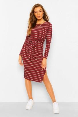boohoo Striped RIb Tie Waist Midi Dress