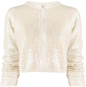 Twin-Set Sequin-Embroidered Cropped Jacket