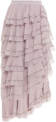 Zimmermann Asymmetric Tiered Lace-trimmed Fil Coupe Silk-blend Skirt