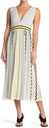 M Missoni Plunge Neck Patterned Midi Dress