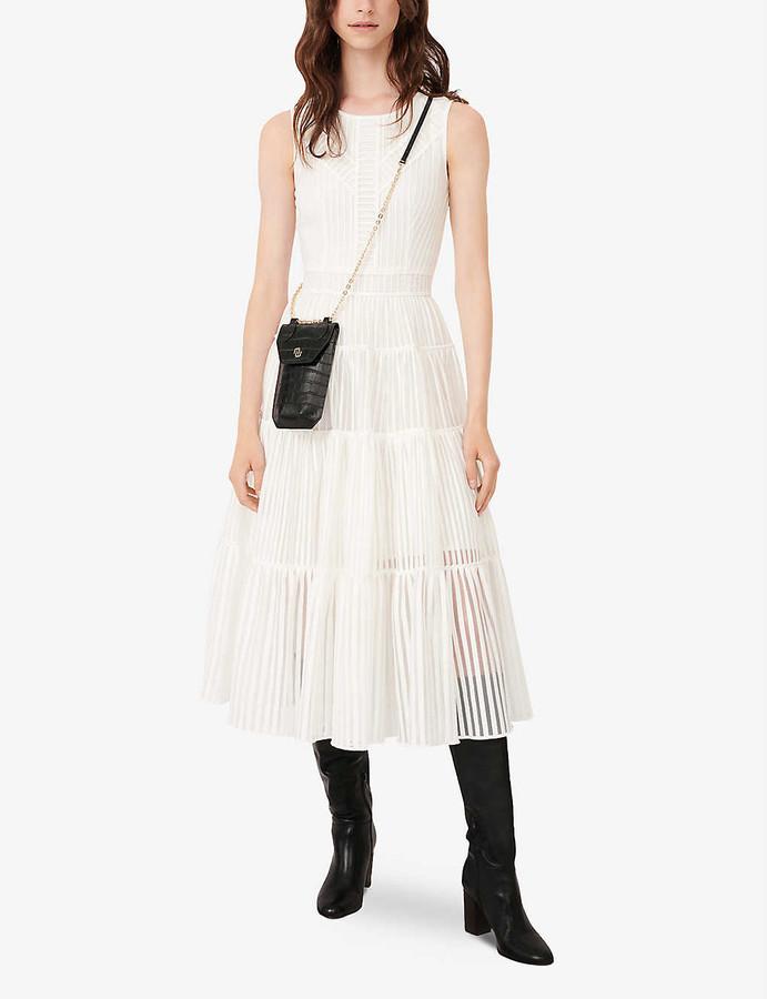 Maje Raya crepe and lace midi dress