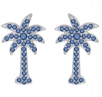 Shah Diamonds 10k White Gold 1/2ct TDW Blue Sapphire Plam Tree Earrings