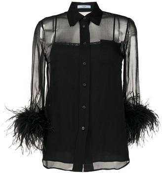 Prada Feathered Sleeve Blouse