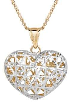 Lord & Taylor 14K Yellow-Gold Filigree Heart Pendant Necklace