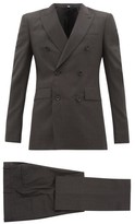 Burberry Double-breasted Checked Wool-blend Suit - Mens - Grey