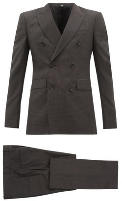 Burberry Double-breasted Checked Wool-blend Suit - Grey