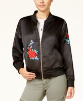 Say What Juniors' Embroidered Satin Bomber Jacket