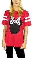 Disney Womens Minnie Mouse Varsity Football Tee Heather