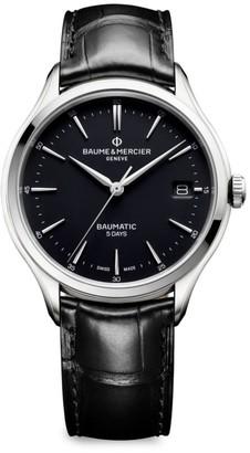 Baume & Mercier Clifton Baumatic Stainless Steel & Alligator Strap Watch